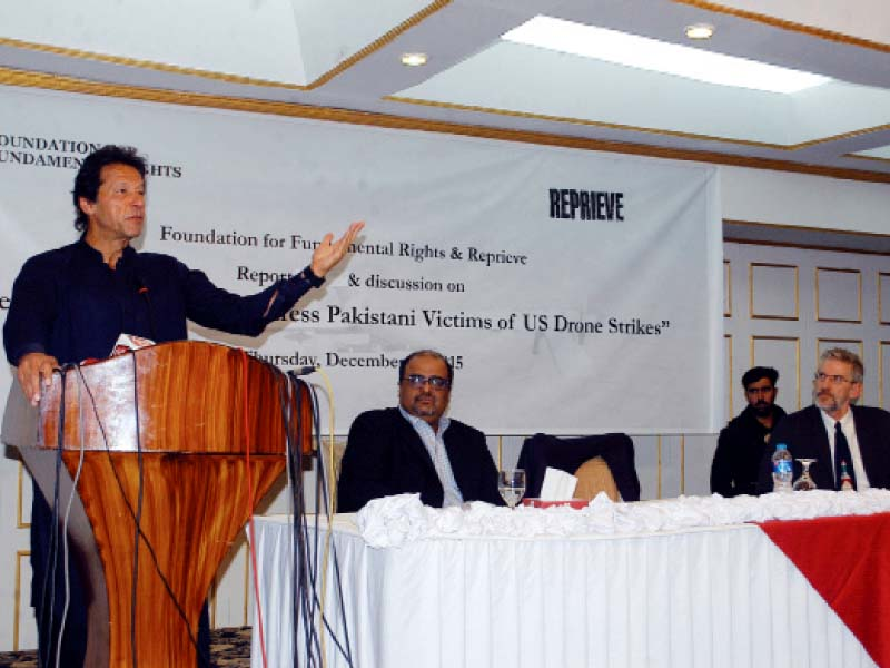 Pakistan Tehreek-e-Insaf Chairperson Imran Khan speaks at the report launch. PHOTO: EXPRESS