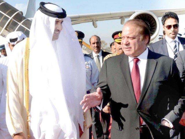 Prime Minister Nawaz Sharif receives Qatari emir at the Nur Khan base in Rawalpindi on March 23, 2015. PHOTO: APP