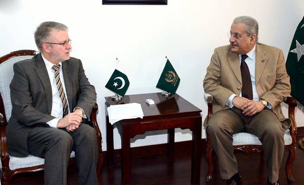Chairman senate, Mian Raza Rabani exchanging views with Micheal Gahler, former chief of European Union election observation mission at parliament house. PHOTO: INP