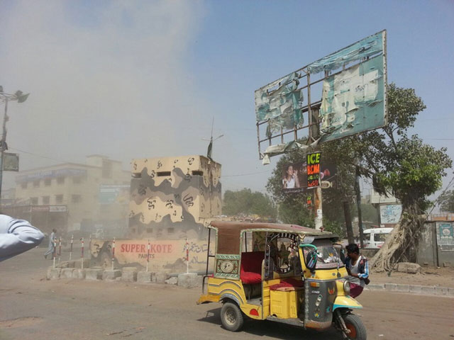 A Rangers checkpost that came under attack in Karachi's Korangi area on March 21, 2016. PHOTO: EXPRESS