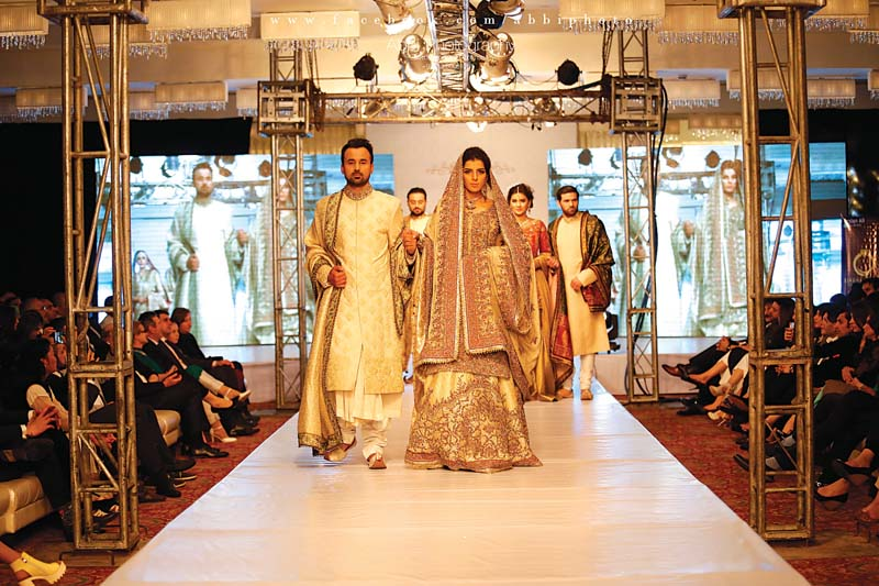 Glitz: Top models and designers including Fahd Hussain, Sobia, Zuha Shakir, Lajwanti and Sensation were featured at the event, followed by a performance by singer Shafqat Amanat Ali. PHOTO: EXPRESS