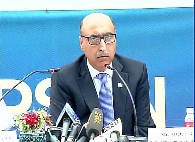 Pakistan High Commissioner to India addressing a press conference in New Delhi on April 7, 2016. PHOTO: TWITTER/ANINEWS