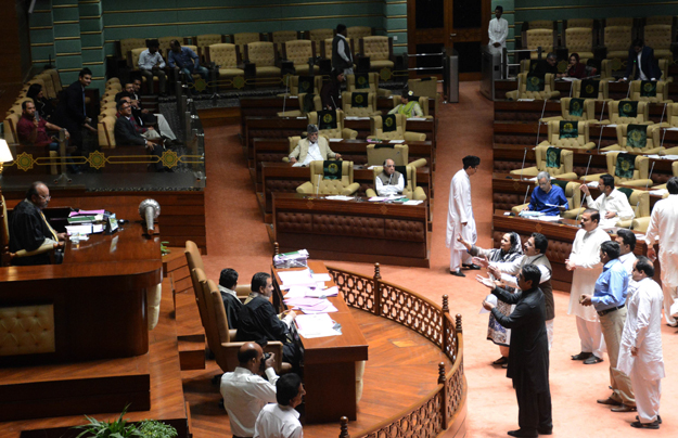 On going Sindh assembly session. PHOTO: EXPRESS