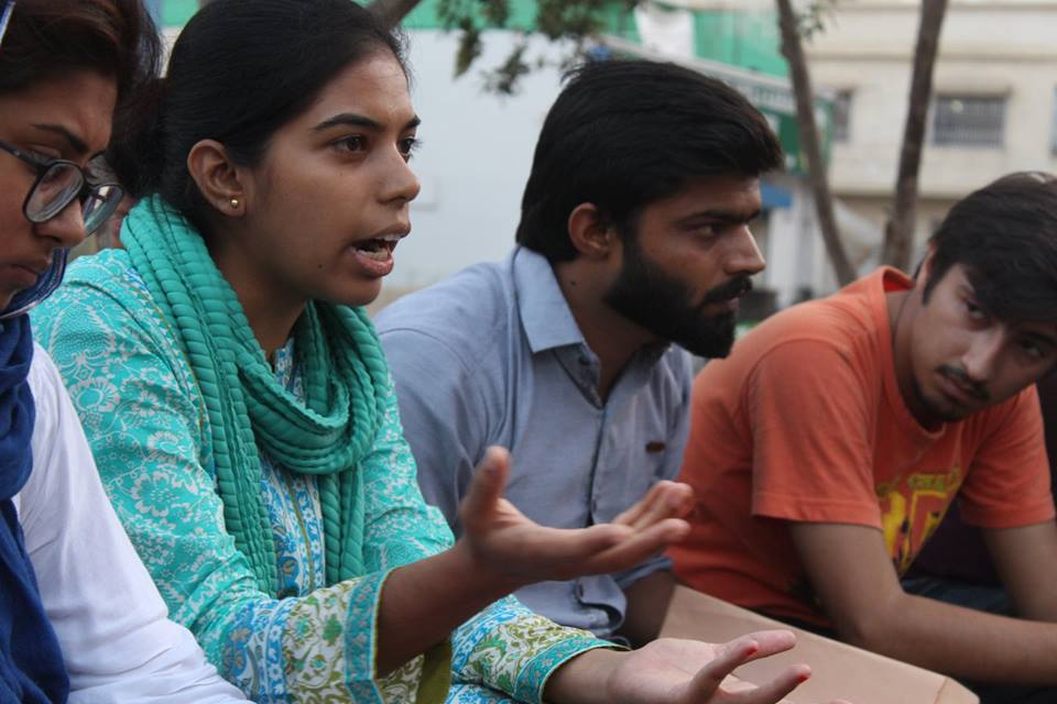 Students from various universities discuss sexual harassment at educational institutions and the legislation dealing with it. PHOTO: NSF KARACHI FACEBOOK PAGE