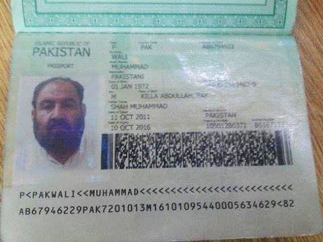 Wali's passport and CNIC were found where Afghan Taliban chief Mullah Akhtar Mansour who was reportedly killed. PHOTO: TWITTER