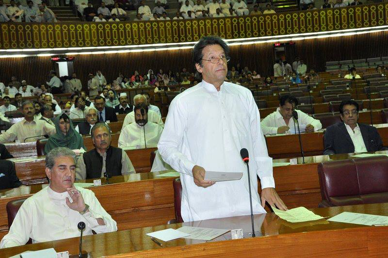 Imran Khan attended just 17 sittings of the National Assembly in the past three years. PHOTO: PTI