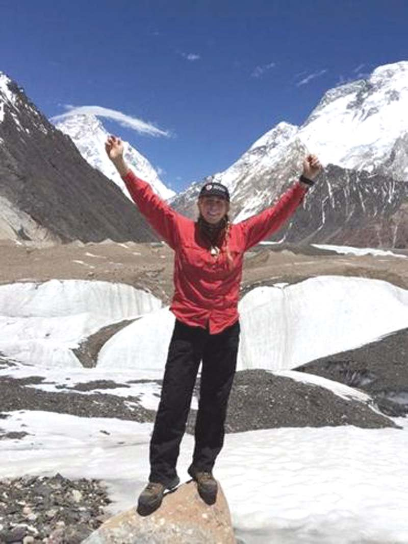 Caption: Vanessa O'Brien in front of K2. PHOTO: FILE