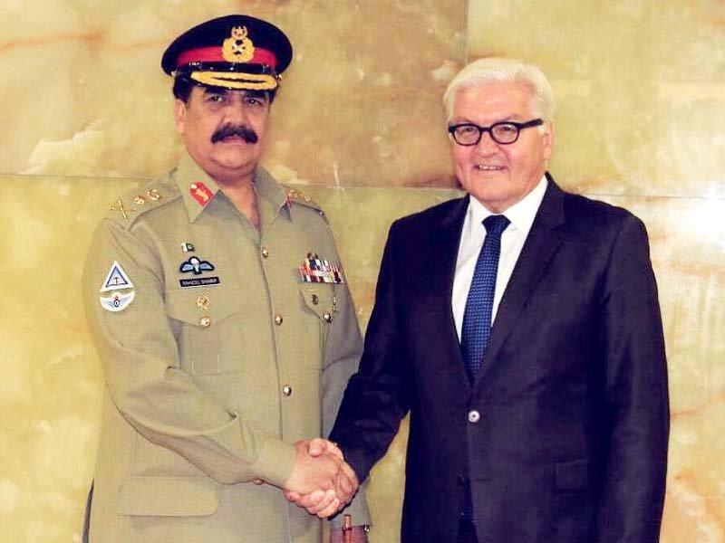 Gen Raheel Sharif shakes hand with German Foreign Minister Frank-Walter Steinmeier. PHOTO:  ISPR