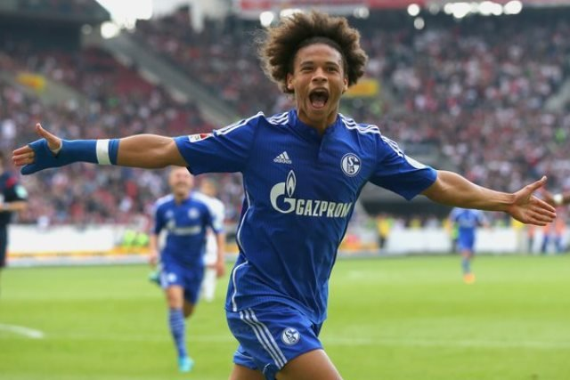 The 20-year-old celebrates his goal for Schalke. PHOTO: AFP