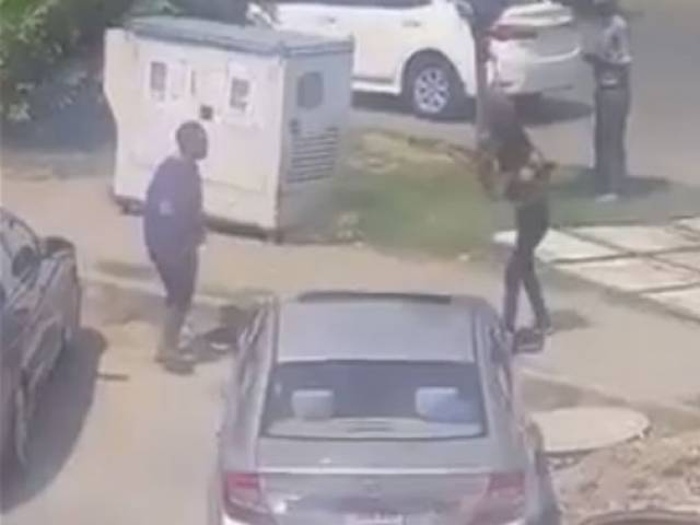 Her accomplice stole his car; footage of the incident went viral. Image: Video screen-grab