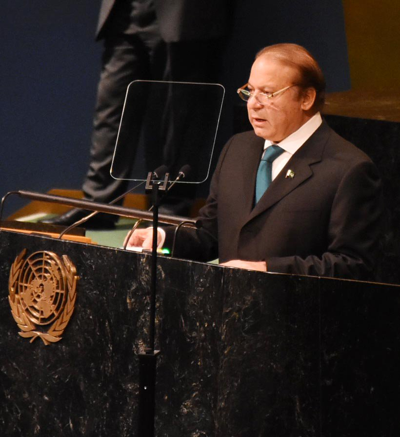 Prime Minister Nawaz Sharif addresses the 71st UNGA session in New York on Wednesday. PHOTO: PML-N