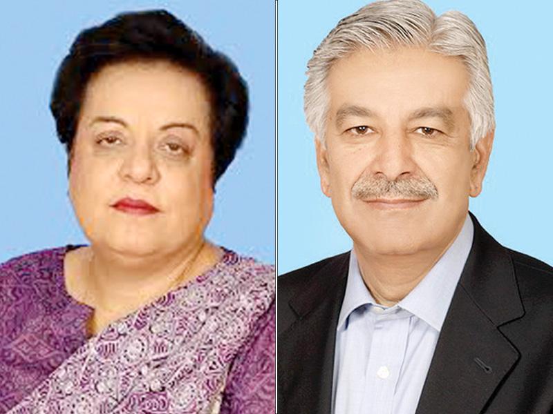 Dr Shireen Mazari, Khawaja Asif. PHOTO: FILE