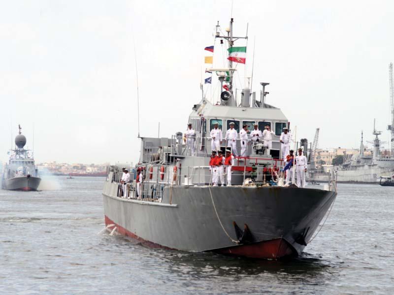 Iranian Flotilla arrives at Karachi port for a three-day visit. PHOTO: ONLINE