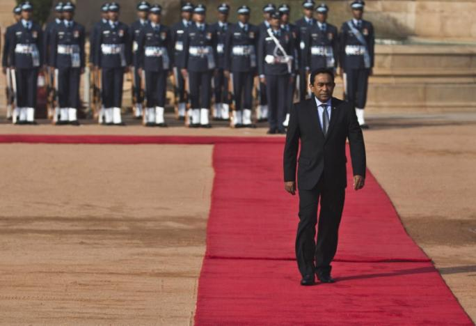 Maldives President Abdulla Yameen inspects a guard of honour during his ceremonial reception at the forecourt of India's presidential palace Rashtrapati Bhavan in New Delhi. PHOTO: REUTERS