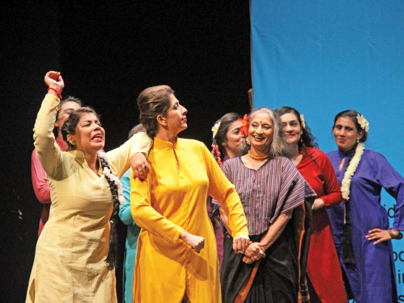 The Tehrik-e-Niswan team performed on a poem, after which they also screened a documentary on women's issues. PHOTO: AYESHA MIR/EXPRESS