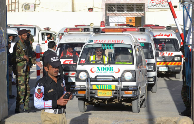 Ambulances arrive to take the dead from the hospital to be buried after they were killed in an attack on a Police Training Centre near Quetta October 25, 2016. PHOTO: REUTERS