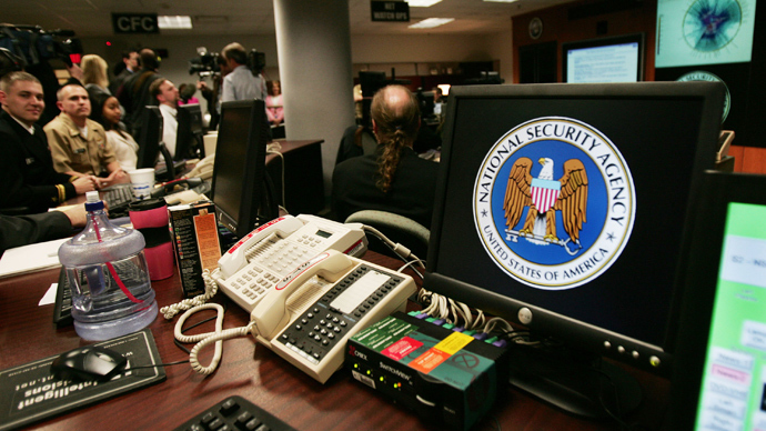 National Security Agency (NSA) logo inside the Threat Operations Center inside the Washington suburb of Fort Meade . PHOTO: AFP