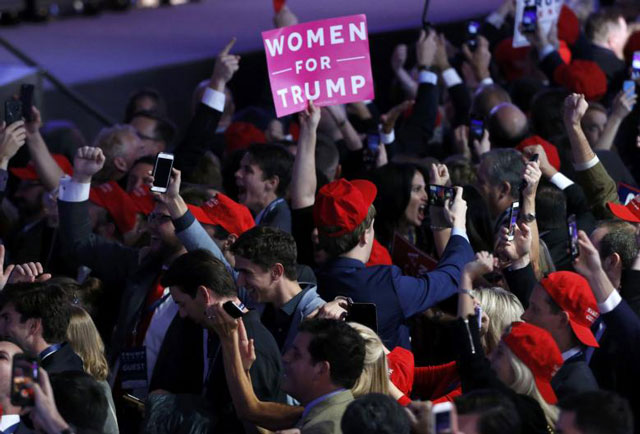 Trump supporters celebrate as election returs come in at Republican US presidential nominee Donald Trump's election night rally in Manhattan, New York, US, November 8, 2016. PHOTO: REUTERS