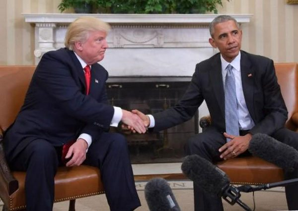 In this file photo, US President Barack Obama meets with President-elect Donald Trump in the Oval Office at the White House. PHOTO: AFP