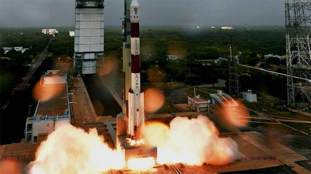 The rocket is set to blast off from the southern spaceport of Sriharikota. PHOTO COURTESY: PTI