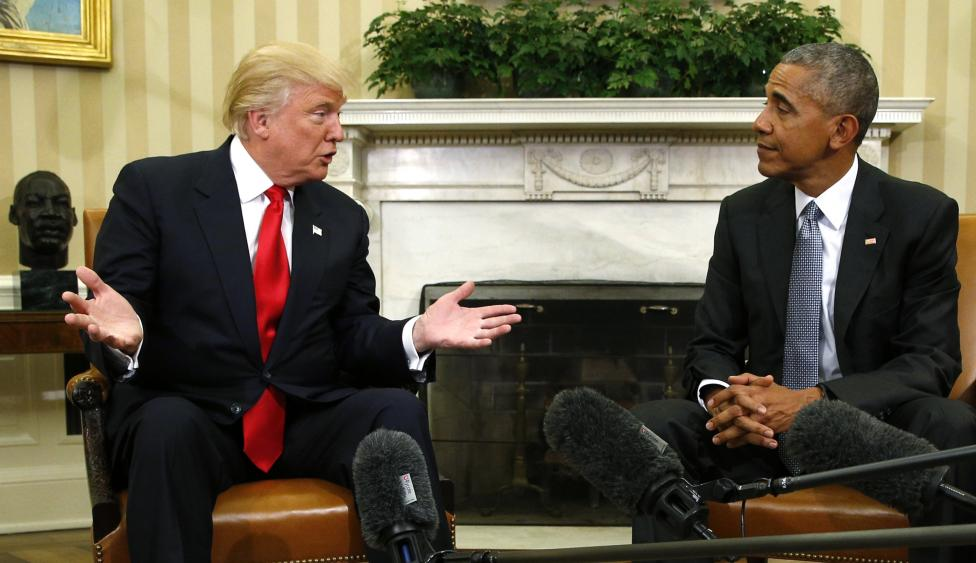 Speaking to reporters in the Oval Office, Obama said he will do everything he can to help the Republican succeed when he takes office on January 20 and urged that the country unite to face its challenges.  PHOTO: REUTERS