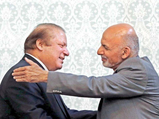 Prime Minister Nawaz Sharif with Aghan President Ashraf Ghani. PHOTO: REUTERS