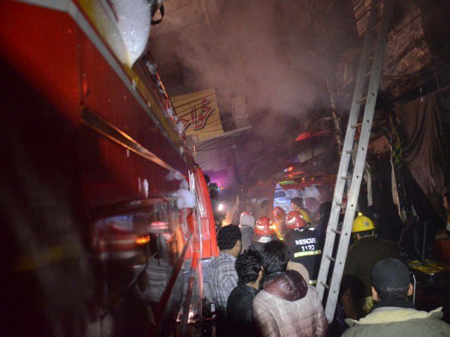 The fire erupted at 2am and soon spread to nearby shops. PHOTO: EXPRESS/FILE