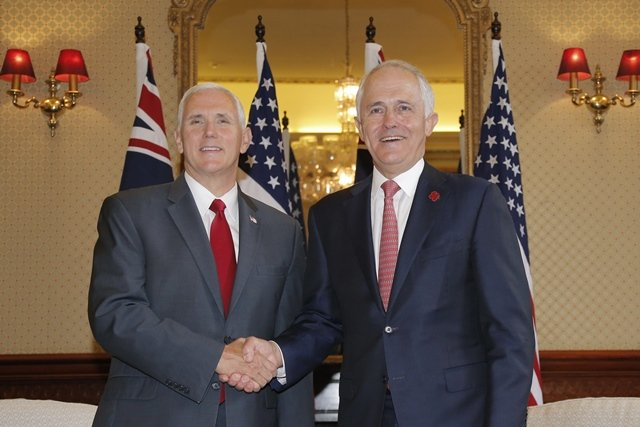 US Vice President Mike Pence (L) meets with Australia's Prime Minister Malcolm Turnbull  at Admiralty House in Sydney on April 22, 2017. PHOTO: AFP