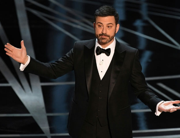 Oscars host Jimmy Kimmel thanked Donald Trump for helping to take the heat off Hollywood and its annual gala AFP / Mark RALSTON
