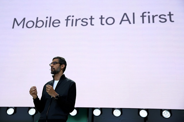 Google CEO Sundar Pichai delivers the keynote address at the Google I/O 2017 Conference at Shoreline Amphitheater on May 17, 2017 in Mountain View, California. The three-day conference will highlight innovations including Google Assistant.   PHOTO: AFP