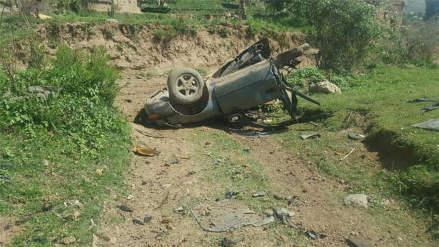 The targeted IED attack occurred near the vehicle of peace committee workers. PHOTO: EXPRESS