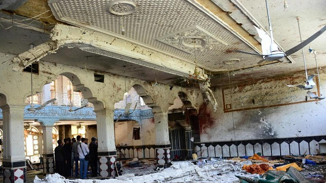 The Shia mosque after it was attacked by suicide bombers in Herat on Tuesday. PHOTO:AFP