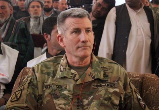 The commander of  US and NATO forces in Afghanistan General John W. Nicholson sits during his visits from Kunduz province, Afghanistan. PHOTO: REUTERS