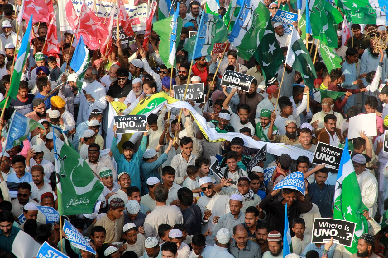 JI  holds rally against Muslim killings in Rohingya on Sep 10, 2017. PHOTO: EXPRESS/ATHAR KHAN