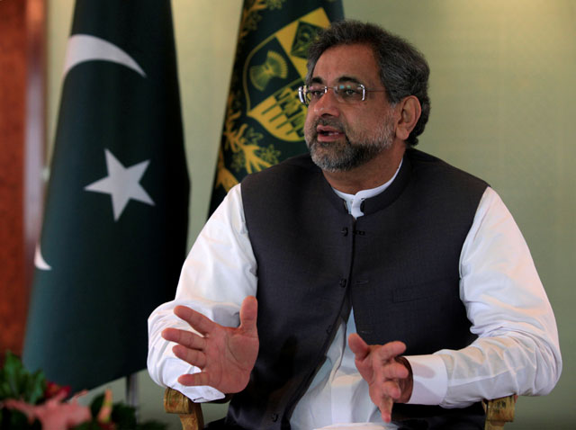 Prime Minister Shahid Khaqan Abbasi speaks with a Reuters correspondent during an interview at his office in Islamabad, September 11, 2017. PHOTO: REUTERS