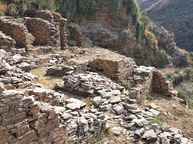 The historical Tarali heritage archaeological site in Mardan comprising Buddhist stupas and other ancient artifacts. PHOTO: EXPRESS