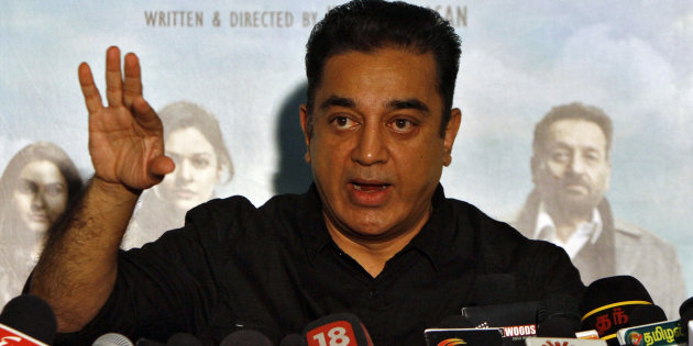 Actor and film-maker Kamal Haasan speaks with the media during a news conference. PHOTO: REUTERS
