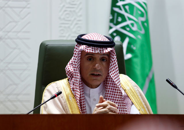 Saudi Foreign Minister Adel al-Jubeir attends a joint news conference with France's Foreign Minister Jean-Yves Le Drian in Riyadh, Saudi Arabia, November 16, 2017. PHOTO: REUTERS
