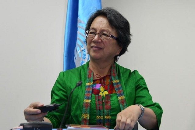The UN Special Rapporteur on the rights of indigenous peoples Victoria Tauli-Corpuz  PHOTO: AFP