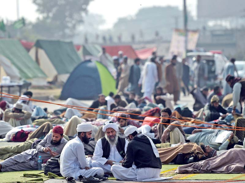 Protesters are camped at Faizabad. PHOTO: EXPRESS/FILE