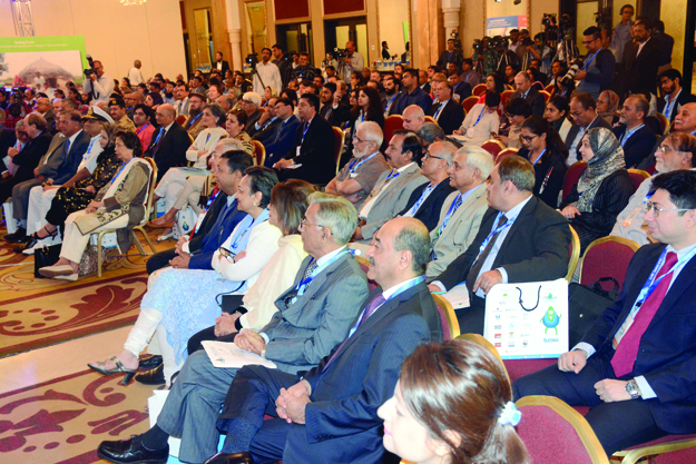 Attentive listeners: People from various walks of life attended the first day of the 3rd Karachi International Water Conference. PHOTO: MOHAMMAD AZEEM/ EXPRESS