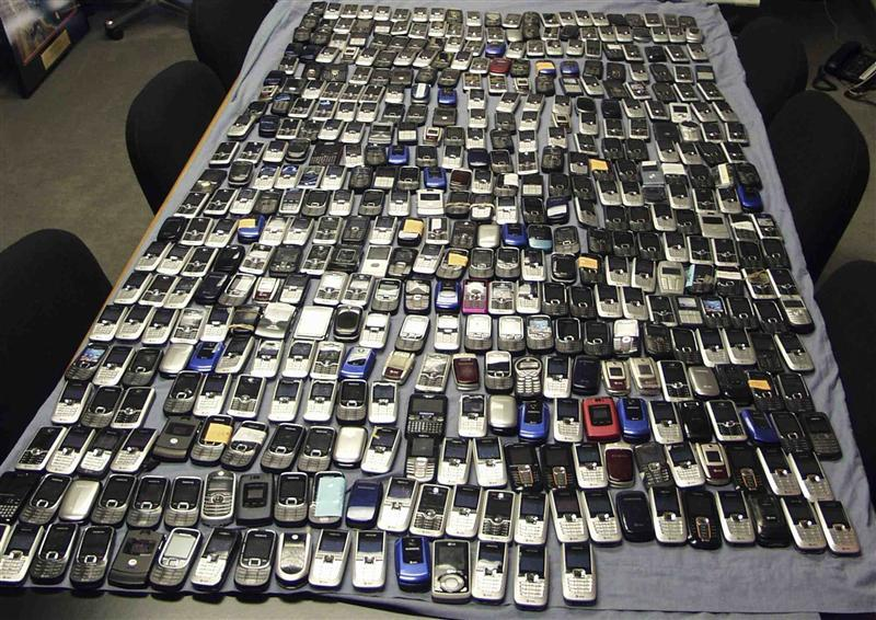 Smuggled mobile phones seized in Multan .PHOTO:REUTERS