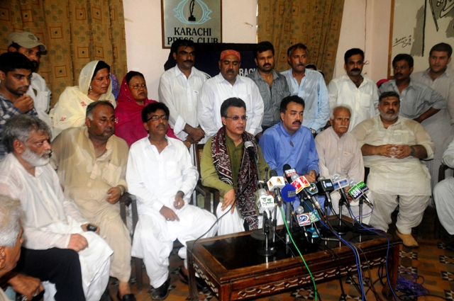 The party's disheartened president, Ayaz Latif Palijo, held a press conference after their 'Mohajir Suba Na-manzoor' (Mohajir province not acceptable) rally at the Karachi Press Club. PHOTO: EXPRESS/IRFAN ALI