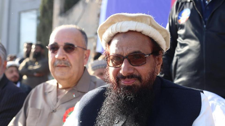Hafiz Saeed share the stage with Palestinian envoy. PHOTO COURTESY: HINDUSTAN TIMES