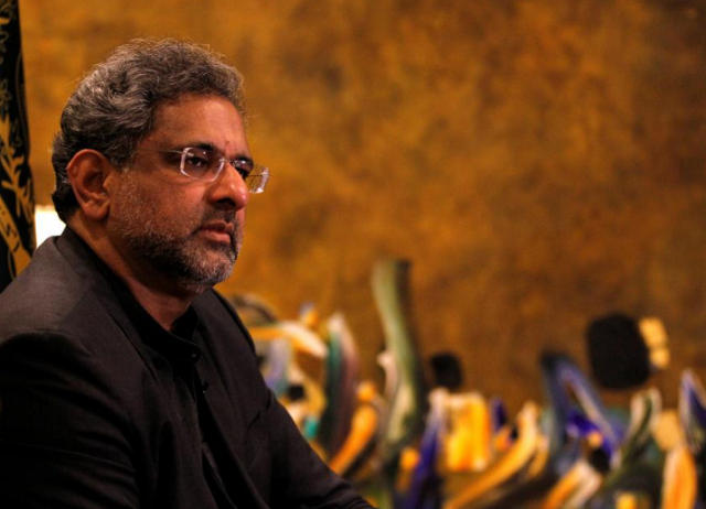 Prime Minister Shahid Khaqan Abbasi speaks during an interview with Reuters in Islamabad. PHOTO: REUTERS