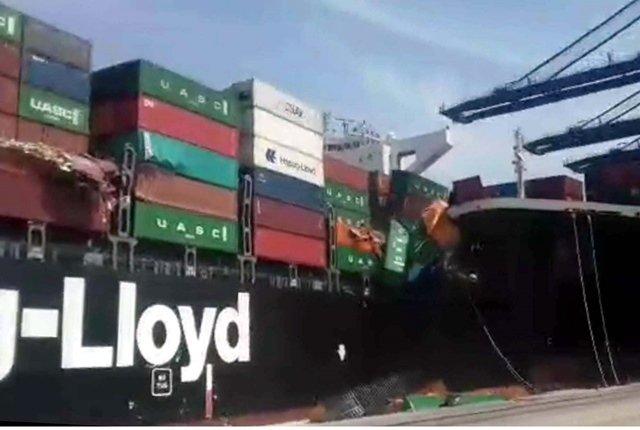 Cargo ships collide at the Karachi Port. PHOTO: PPI