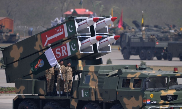 A mobile missile launcher in a military parade in Islamabad. Pakistan's missile programme has been advancing rapidly. PHOTO: AFP
