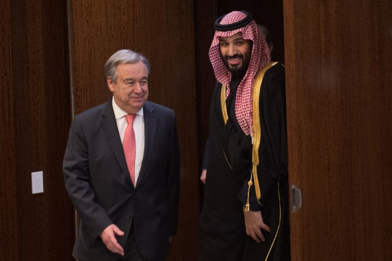 Saudi Arabia's Crown Prince Mohammed bin Salman arrives to meet with United Nations Secretary-General Antonio Guterres at the United Nations, where he presented a check for humanitarian aid in Yemen. PHOTO: AFP