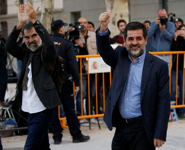 Sanchez was remanded in custody in October pending charges of sedition over last year's Catalan independence bid.  PHOTO: REUTERS
