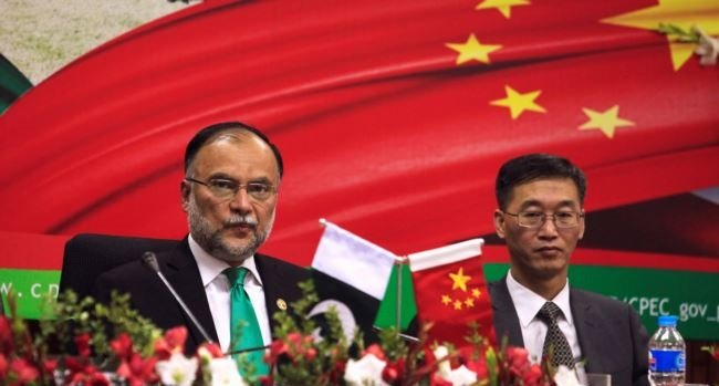 Minister of Planning and Development Ahsan Iqbal and Chinese Ambassador to Pakistan Yao Jing attend the launching ceremoney of CPEC long-term cooperation plan in Islamabad. PHOTO COURTESY: VOA